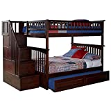 Atlantic Furniture Columbia Staircase Bunk Bed with Trundle Bed, Full Over Full, Antique Walnut