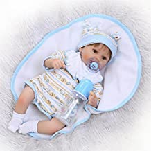 Soft 16'' Alive Real Like Newborn Nurturing Baby Dolls Lifelike Silicone Babies Reborn Dolls Wear Baby Clothes Fashion Kids New Born Xmas Gifts,Brown Eyes?16 Inches About 40Cm for Patients with Anxiety Disorder