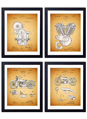 Harley Davidson Patent Wall Art Prints - Set of Four (8x10) Vintage Unframed Photos - Perfect Gift For Motorcycle Enthusiasts, Great For Home Decor - Set of (Harley Davidson Designs)