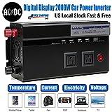 2000W Car Power Inverter Converter DC 12 Volt to AC 110 Volt Digital Display Dual AC Outlets USA Standard + 4 USB Charge Port + 2 Cigarette Lighter Socket Portable - 2 Year Warranty