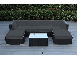 Amazoncom ohana 7 piece patio wicker sectional sofa set for Gray sectional sofa amazon