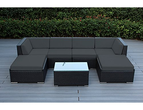 Weather Wicker Armless Sectional - Ohana 7-Piece Outdoor Patio Furniture Sectional Conversation Set, Black Wicker with Gray Cushions - No Assembly with Free Patio Cover