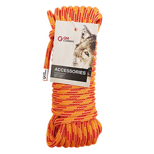 GM CLIMBING 11.5mm Rigging Line Rope Double Braid 30kN / 6700Lb High Strength Hauling Dragging Tie-Down (Orange, 50Ft)