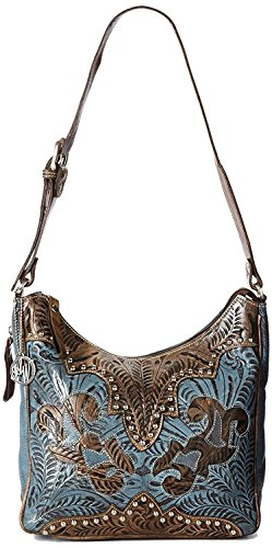 Concealed Carry, Smaller Tooled Leather Hobo- American West Annies Secret - American West Bag Hobo