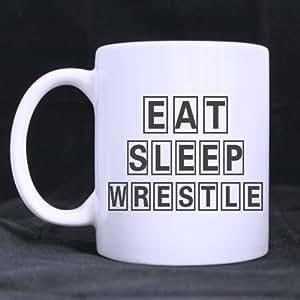 Funny Wrestling Mug - New Style Eat Sleep Wrestle Coffee Mug or Tea Cup - 11 ounces
