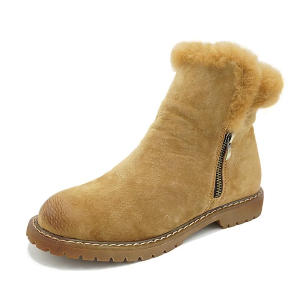 Camel Fay Waters Women's Warm Retro Genuine Leather Plush Fur Trek Winter Flat Zipper Ankle Martin Snow Boots