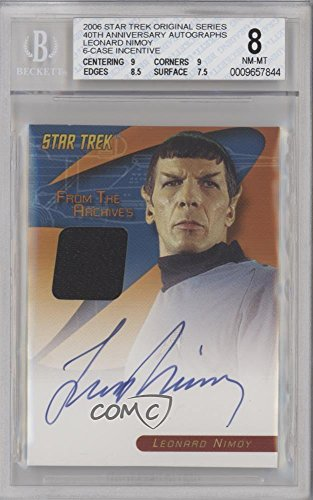 Leonard Nimoy BGS GRADED 8 (Trading Card) 2005 Rittenhouse Art & Images Star Trek: The Original Series - From the Archives Costume Autograph #LENI (Star Trek Costumes Images)