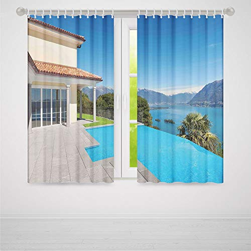 YOLIYANA House Decor Decor Collection,View from The Terrace of a House with Pool Mountains Scenic Architecture,for Living Room, 2 Panel Set,103W X 62L ()