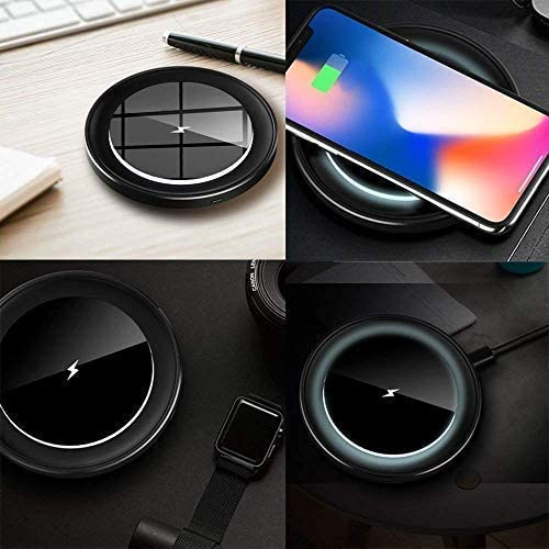 7.5W QI-Certified Cordless Charging Pad with Night Light for iPhone Xs MAX XR X 8 Plus E-SYB Fast Wireless Charger No AC Adapter 10W Quick Charge for Galaxy Note 9 S9 Plus Note 8 S8 5W for More