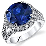 6.75 Carats Round Shape Created Blue Sapphire Engagement Ring In Sterling Silver Size 8