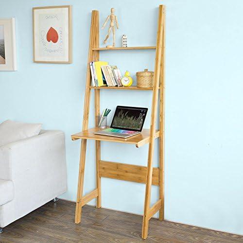 SoBuy® frg60-b-n, pantalla de almacenamiento de bambú estantería de escalera estantería con escritorio y 2 estantes: Amazon.es: Oficina y papelería