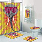 Philip-home 5 Piece Banded Shower Curtain Set Animal Portrait Elephant in Pink Glasses la Vie est Belle Decorate The Bath