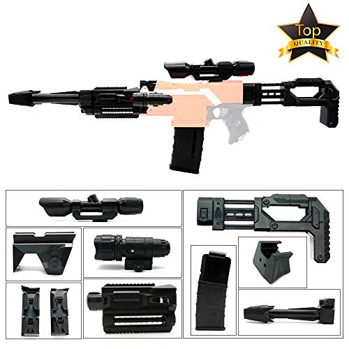 Wan Jing Upgrade Mod Kit Compatible with Nerf Stryfe: Front Tube Adapter + Shoulder Stock + Front and Side Rail Adapter + 12 Darts Clip Magazine + One Scope (Black)