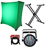 Rockville Double X Braced Keyboard Stand+DJ Scrim Cloth+Par Can Light+DMX Cable
