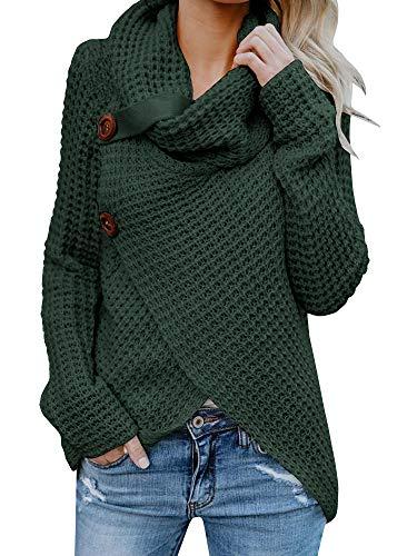 Huiyuzhi Women Button Down Long Sleeve Turtleneck Knit Hooded Cardigan Sweater Coat (L, Army Green) - Turtleneck Sweater Coat