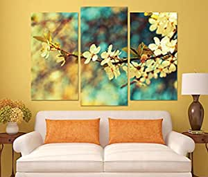 Floral And Botanical Wooden Tableau, 180x150 Cm - Set Of 3 Pieces