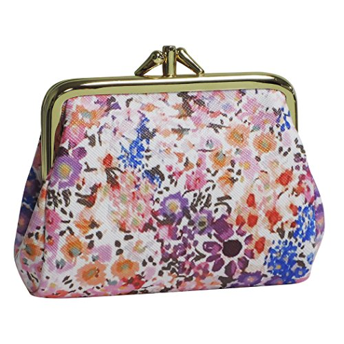 Buxton Womens Leather Triple Frame Coin Purse Credit Card Holder Wallet (Wild Flowers)