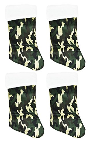 Christmas Stocking Camouflage 18 Inch Fleece W/Plush Trim - 4 (Camo Christmas Stocking)