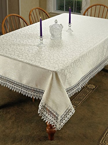 HomeCrate Flower Bow Vintage Lace Design tablecloths, 54'' x 72'', Beige by HomeCrate