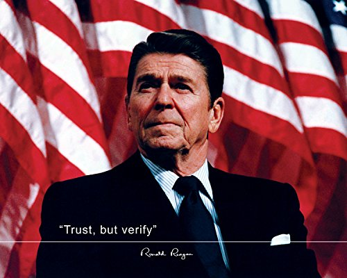 Ronald Reagan Poster Photo Picture Framed Quote Trust, but Verify US President Portrait Famous Inspirational Quotes Motivational Posters (8x10 Unframed Photo)