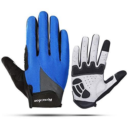 FarJing Men Women Gloves Outdoor Sports Riding Non-slip Shock Absorption Wear Mitten(M,Blue)