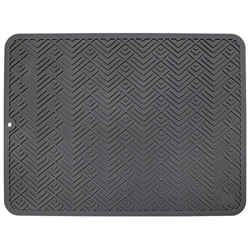 """STS 595601 Heavy Duty Silicone Drying Mat Large 12"""" x 16"""" Gray"""
