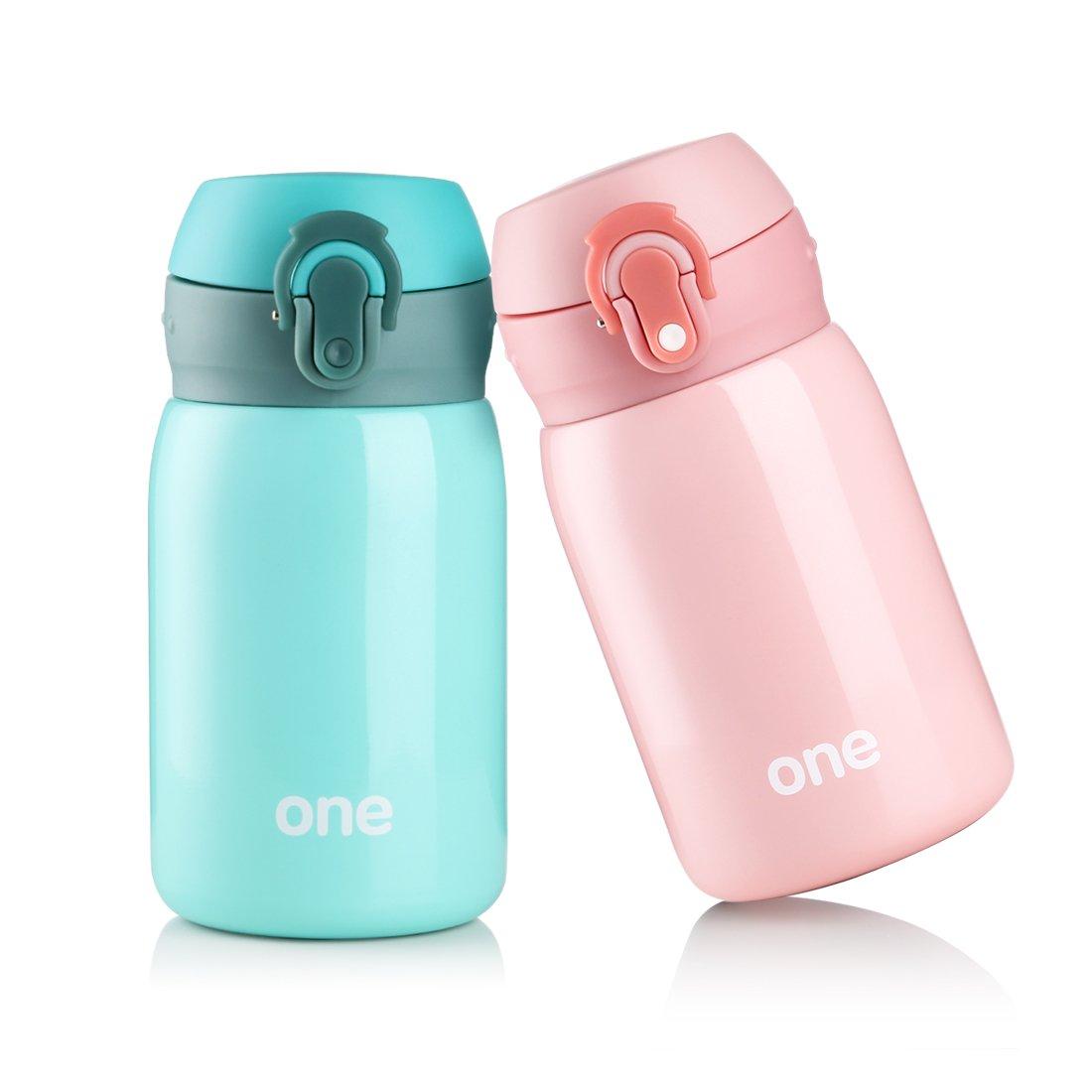 Kid&Girls 260ml/9oz Mini Insulated Water Bottle Drink Thermos Cute Stainless Steel Vacuum Flask,Leak-proof Travel Mug Coffee Tumbler (Green) by HOLD U FUN (Image #8)