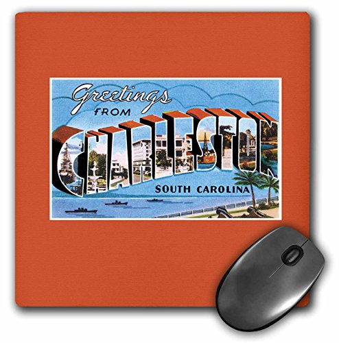 3dRose BLN Vintage US Cities and States Postcards - Greetings from Charleston South Carolina Ocean Scene - MousePad (mp_170615_1)