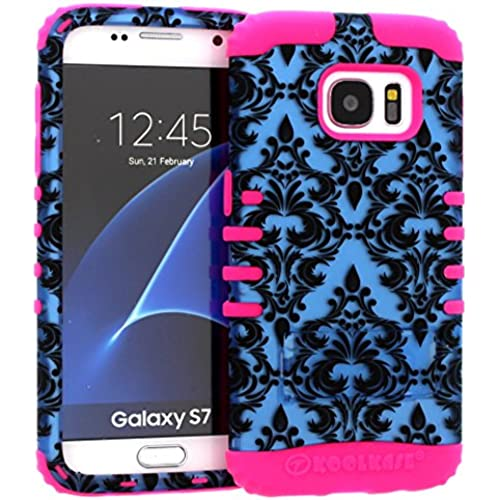 Galaxy S7 Case, Hybrid Heavy Duty Rugged Armor Kickstand Shock Proof Impact Resistant Grip Cover for Samsung Galaxy S7 (Blue Damask / Pink) Sales