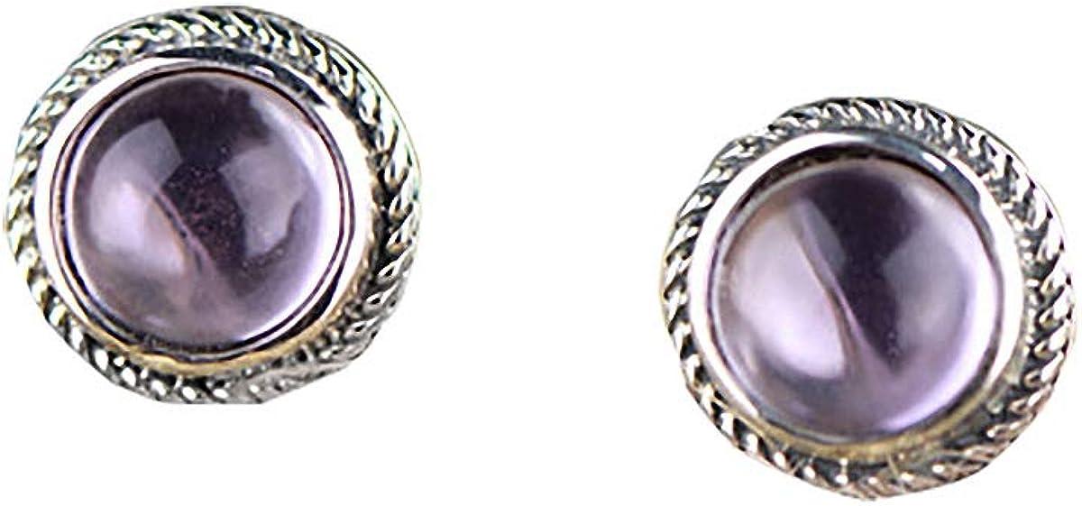 Pendientes Lotus Fun S925 de plata de ley, retro, amatista, piedras preciosas, personalidad, temperamento, joyas para mujeres y niñas