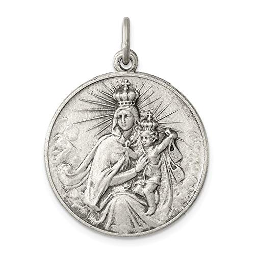 Holy Scapular - 925 Sterling Silver Our Lady Of The Holy Scapular Medal Pendant Charm Necklace Religious Queen Fine Jewelry Gifts For Women For Her