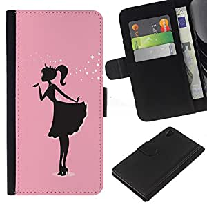 iBinBang / Flip Funda de Cuero Case Cover - Pink Dress Black Minimalist Sparkle - Sony Xperia Z4