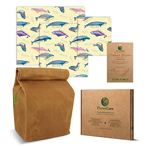(PlanetCare Premium WAXED CANVAS LUNCH BAG & BEESWAX WRAPS Whales Limited Edition: The ultimate ECO FRIENDLY LUNCH SET! 100% Biodegradable, and plastic free: REUSABLE, SUSTAINABLE, WASHABLE & NATURAL)