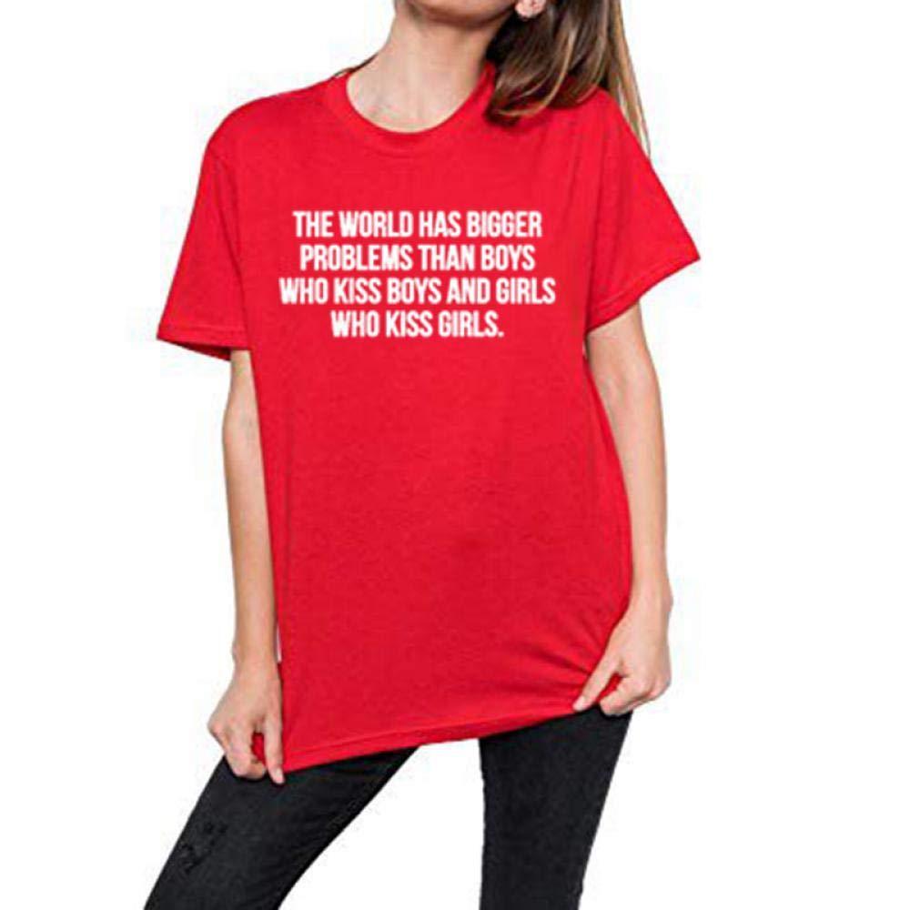 HuCoLo Tee Shirt Women T Shirt The World Has Bigger Problems Than Boys W-Black XXXL