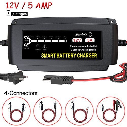 LST 12V 5A Automatic Battery Charger Maintainer Smart Deep Cycle Trickle Charger for Automotive Car Boat Motorcycle Lawn Mower RV SLA ATV AGM GEL CELL WET& FLOODED Lead Acid Battery