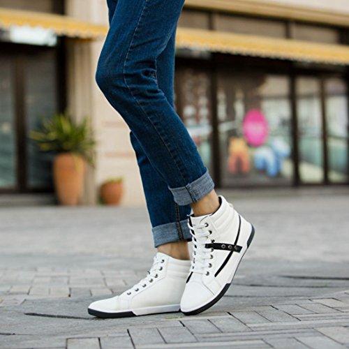 scarpe High casual uomini uomo pelle stivali primavera scarpe scarpe Saihui moda in Top White zqRZPP