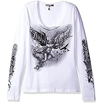 Hot Leathers GLC3121 WHITE, L Angel Statue Ladies Long Sleeve Biker Tee (White, Large)