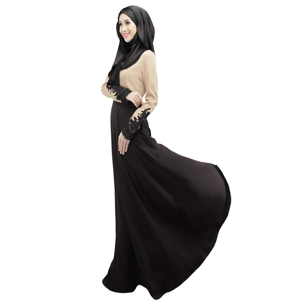 ZOMUSAR 2019 Muslim Single Layer Long Skirt Cuffs Lace Color Matching Hui Worship Service Black by ZOMUSAR