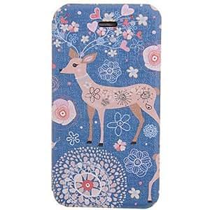 TY-Modelo colorido de Navidad del reno de la PU Leather Case cuerpo para el iPhone 4/4S
