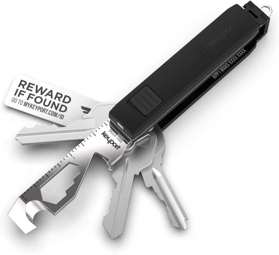 Keyport Pivot Essential Bundle: Premium Key Organizer & Modular EDC Multi-Tool Key Chain + Mini Keychain Flashlight + MOCA 10-in-1 Pocket Tool + Lost & Found All-in-One (Black)