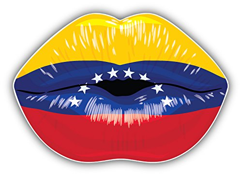 Venezuela Flag Lips Art Decor Bumper Sticker 5'' x 4'' -
