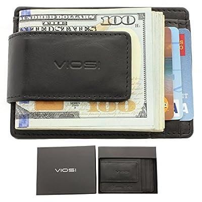 Viosi RFID Men's Leather Magnetic Front Pocket Money Clip Wallet