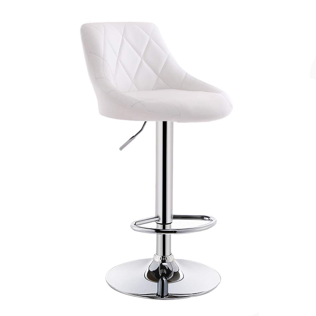 White Lxn Modern Simplicity Adjustable Bar Stools, Swivel Barstool Chairs with Back, Pub Kitchen Counter Height,PU Leather and Chromed Metal Base - 1PCS