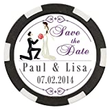 50 Custom Wedding Save the Date Poker Chip Magnets Personalized with Your Text - Bride & Groom Design #7