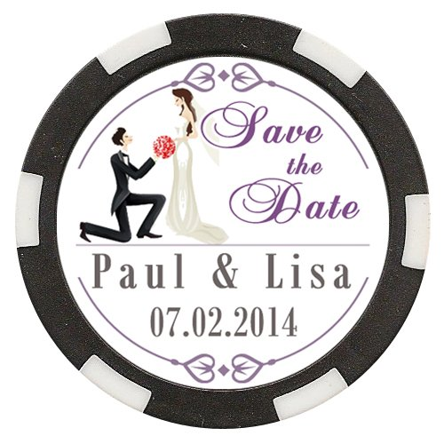 50 Custom Wedding Save the Date Poker Chip Magnets Personalized with Your Text - Bride & Groom Design #7 by Da Vinci