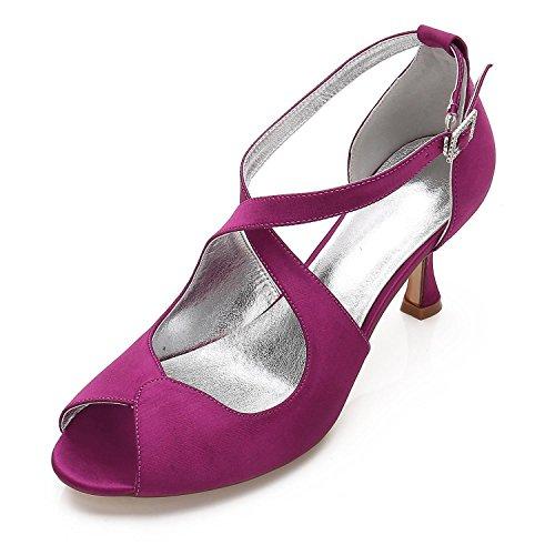 L Otoño Y 33 verano Mujer De Primavera fiesta Purple tacones peep yc 17061 Seda Noche Boda Toe Tacones zZBqzr