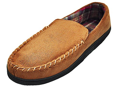 MIXIN Men's Casual Pile Lined Indoor Outdoor Rubber Sole Micro Suede Moccasin Flats Slippers