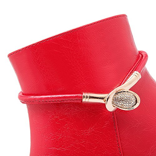 Allhqfashion Solid High Heels Toe Zipper Pointed Red Closed Boots Women's PU arqwFa