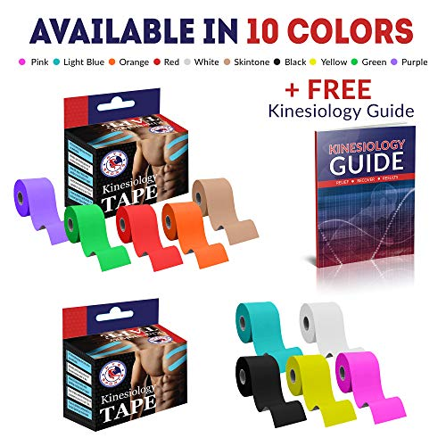NYG Kinesiology Tape - Premium Uncut Water Resistant Muscle Support Tape Pain Relief - 5cm x 5m Roll Black + e-Guide