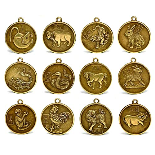 Allbest2you Chinese Zodiac Amulet Pendant Metal Coin Horoscope Lucky Lunar Year Set of 12